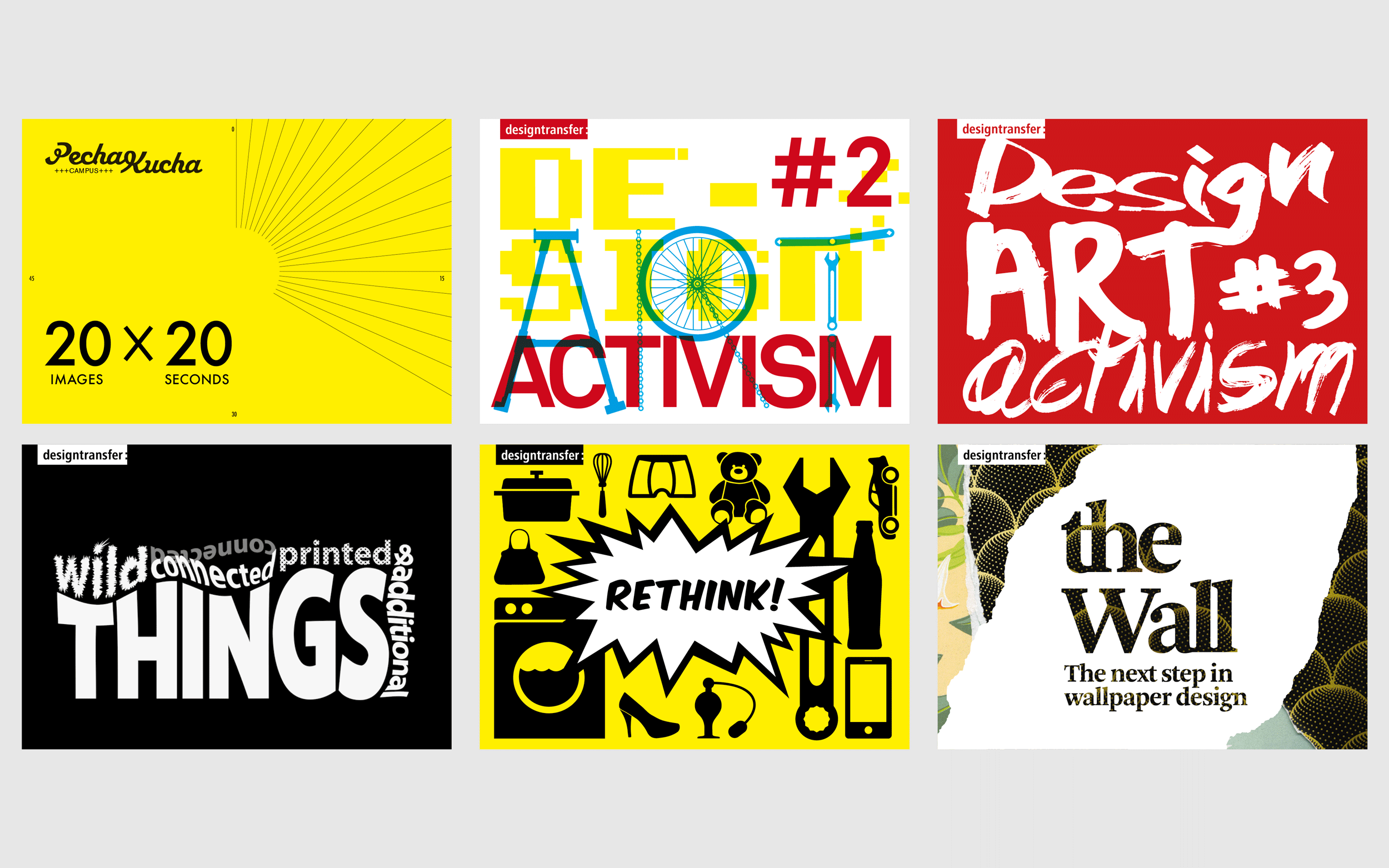 Graphic design work done by Young Sam Kim for the designtransfer gallery in Berlin.