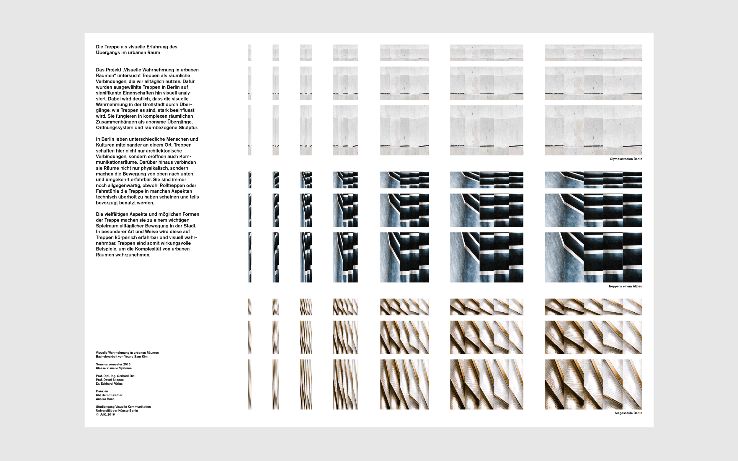 Documentation of Young Sam Kim's UdK Bachelor work: Staircase / visual research in urban space.