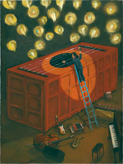portrait painting of Tom Waits with him playing strings stretched over a container on a stage filled with traditional instruments.