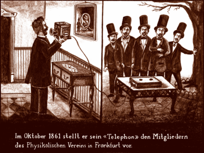 Reis presents his telephone to the other scientists in Frankfurt, by saying