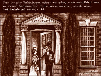 Bells competitor holds the door open to a women, unknowingly to him the wife of Bell, who will beat Grey at registering a patent for the Telephone at the US patents office.
