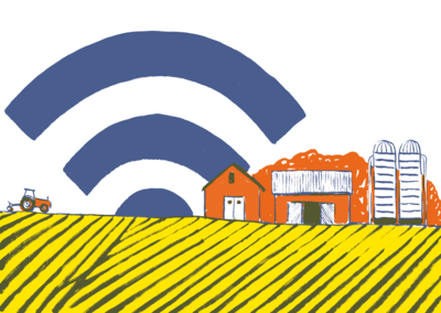 Idyllic farm with wifi symbol as sunset or sunrise