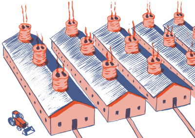 pork factories, with chimneys as pig noses, and pink buildings