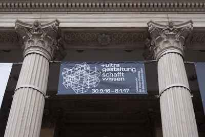 Banner hanging on Martin-Gropius-Bau for the exhibition +ultra. knowledge & gestaltung