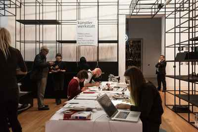 Live drawing event at Martin-Gropius-Bau with Emil Sommerfeldt, Riika Laakso, Jay Wright, and Faezeh Shakoori Dizaji