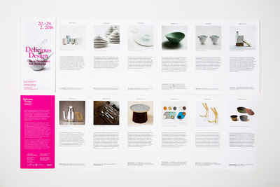 Overview of the fan fold brochure for the delicious design exhibition at Dross & Schaffer.