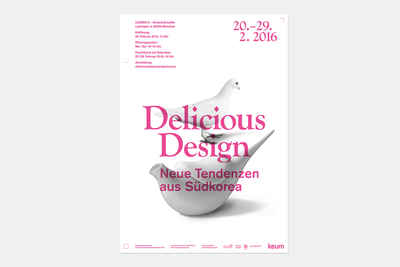Poster for the delicious design exhibition at Dross & Schaffer.