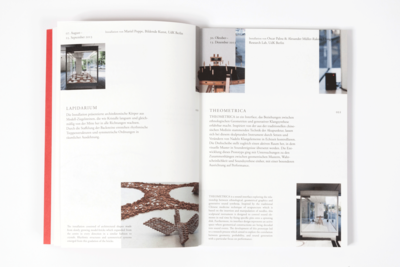 Photograph of a spread with images and text, showing the grid which the text is placed on, and the liberal placement of images which also bleed off the page.