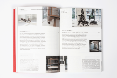 Photograph of another spread further displaying the flexible layout of the book.
