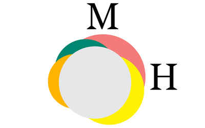 graphics for Material Hunter, branded with the letters M and H, and multicolored circles