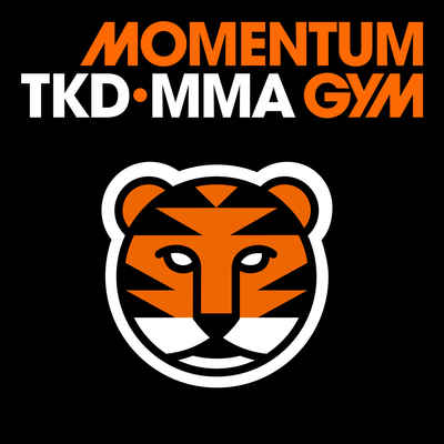 Tiger mascot with tiger stripes inspired by the Momentum Gym MM logo