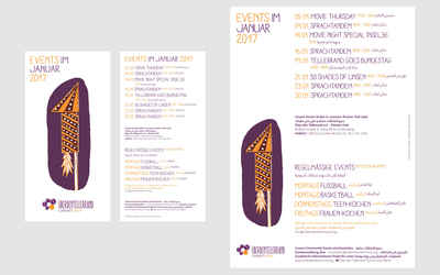Mockups of the printed flyer and poster with motif from January