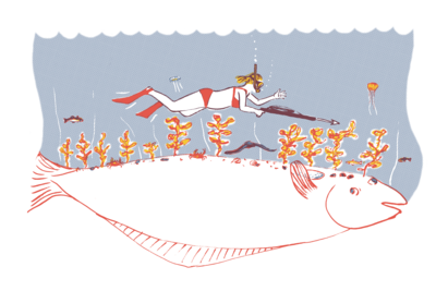 woman swimming with harpoon over huge fish among sea life