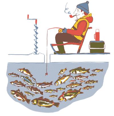 patient man ice fishing